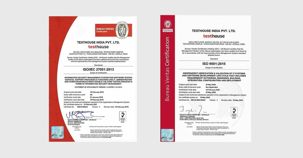 Testhouse receives certifications for quality management and
